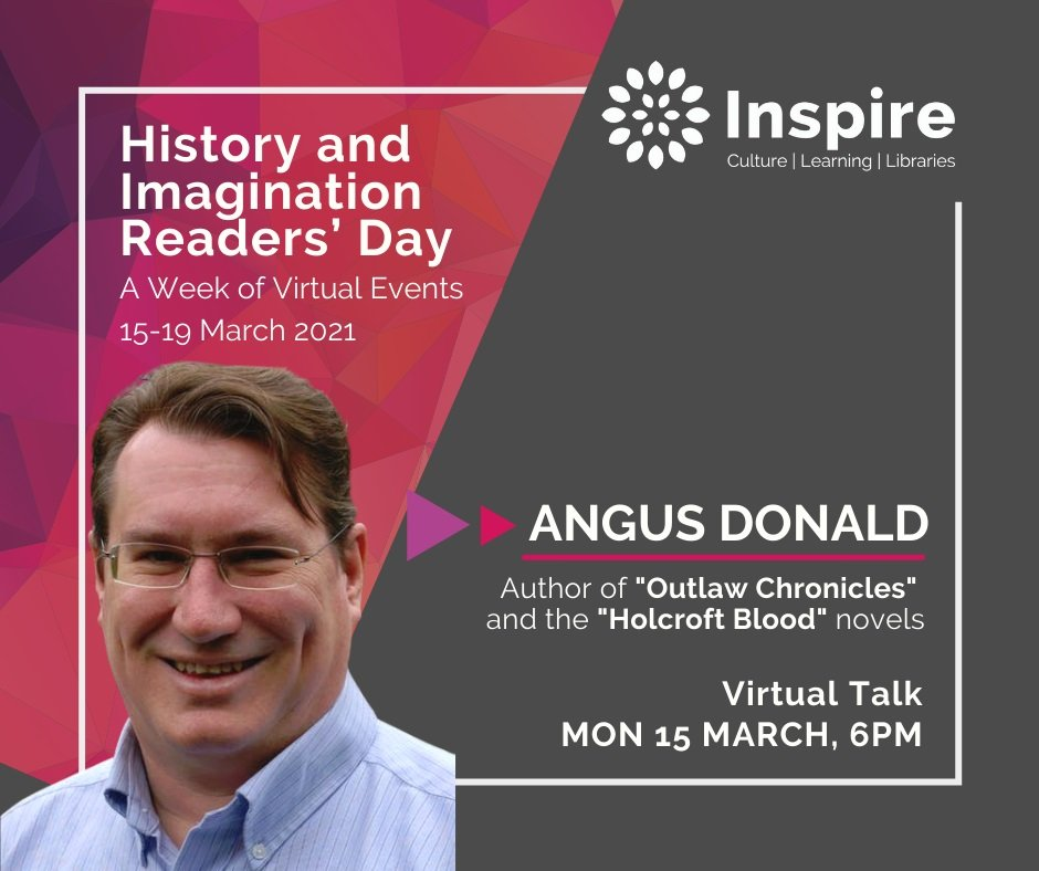 Photograph of author Angus Donald with details of the event.