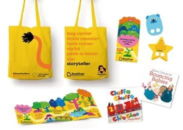Yellow Bookstart Baby cloth bag and contents