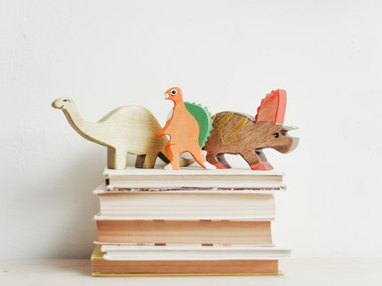 Wooden dinosaurs and books